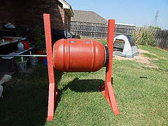 Have to trim the rod and add supports to level (coupe1942) Tags: compost compostbin composter compostbarrel