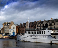 Ristorante De Niro in Leith (Tony Worrall) Tags: wet water clouds buildings river restaurant scotland boat photo edinburgh ship place image north scottish location leith float whiteboat ristorantedeniro ©2014tonyworrall