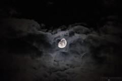 hide and seek... (George Spanoudakiss) Tags: sky moon black night clouds dark fuji cloudy fujifilm lunar atmospheric mystic