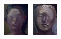 2014/09/07 The continuing two studies (Masayo Nabeshima) Tags: portrait mask drawing dessin canvas study oil