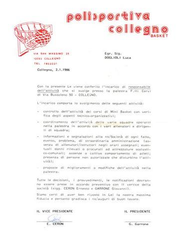 Incarico 1986 Gianluca Doglioli