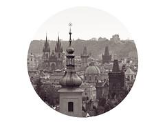 Thank God it's Kitschy Friday (Goran Patlejch) Tags: panorama skyline sepia architecture circle czech prague spires gothic towers churches prag praha praga spire czechrepublic baroque patlejch gntx goenetix patlejh