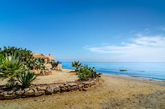 House at the Mojacar's beach (zuissell) Tags: sea cactus espaa house beach horizontal landscape spring spain europe mediterranean nopeople andalucia agave noon es andalusia almeria almera mojacar mojacarplaya
