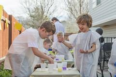 Eureka! The Thrill of Discovery (aaronrhawkins) Tags: science scientists young children boy kid backyard birthday party experiment discovery thrill chemical testtube chemistry mixture goggles happy joy lab laboratory joshua ben spring outdoor outside soap cups table sandy utah aaronhawkins