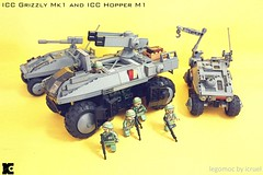 ICC Grizzly and Hopper M1 deployed (icycruel) Tags: lego moc outpost charlie scifi military vehicle apc troop transport