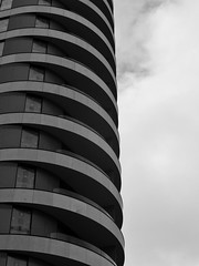 Roll Up (Douguerreotype) Tags: balcony monochrome london uk blackandwhite abstract british buildings mono architecture city britain urban gb bw england