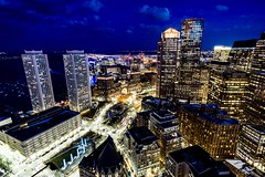 Nighttime View From Custom House Tower ((Jessica)) Tags: rokinon rokinon12mm sonyalpha sonya6000 a6000 alpha6000 customhousetower boston massachusetts newengland downtown city skyscrapers view wideangle focuspeaking focus night citylights rooftops alpha