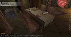 Dara Table With Tablecloth and Chairs (Soyer Roussell) Tags: runic design soyer roussel table with tablecloth dara celtic medieval fantasy gor gorean second life rpg gdr furniture chair girsa role play gioco di ruolo sim