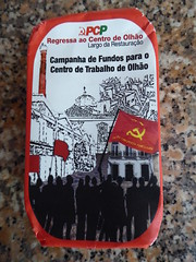 Sardinhas! (cyclingshepherd) Tags: 2017 april europa europe portugal algarve olhao olhão sardinha sardinhas filetes molho tomate campahna pcp largoderestauração centrodetrabalho hammerandsickle politicalparty communist regressa cyclingshepherd tin can label wrapper food fish peixe graphic graphics drawing sardinapilchardus flag flags centro trabalho red wrapping paper symbol artwork partido comunista português art design tinned canned