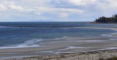Airforce Beach, Comox (shireye) Tags: comoxairport comox bc britishcolumbia vancouverisland nikon d610 ff fullframe fx 70200 beach beautifulbluewater straitofgeorgia tideisout shoreline clouds driftwood
