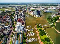 Miniature view Medienhafen (einervonneruhr) Tags: river miniature harbour olympus nrw hafen fluss dsseldorf rhein diorama omd 2014 miniatur rheinturm medienhafen