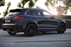black design photoshoot body side wheels wide cayenne turbo porsche lip kit custom suv luxury diffuser skirts exhaust aero modded aftermarket prior