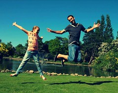 Father and daughter (seany boy wonder) Tags: park playing water kids canon jump pond father daughter sean 600d winfarrah