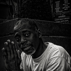 Lowe Praying On The Steps, St. Matthews Cathedral, Downtown, Washington, DC (Gerald L. Campbell) Tags: street urban washingtondc dc downtown homeless streetphotography squareformat dcist spirituality blackmale homelessness stmatthewscathedral spiritualindifference canonsx50hs