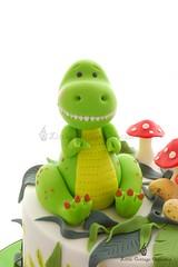 Meet T-Rex! (Little Cottage Cupcakes) Tags: birthday boy cake dinosaur toadstool trex fondant dinosaurcake sugarpaste 2ndbirthdaycake trexdinosaur littlecottagecupcakes
