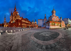 Panorama of the Red Square - Kremlin, Historical Museum, Resurrection Gate and Kazan Cathedral, Moscow, Russia (anshar73) Tags: city travel blue red vacation sky building brick tower history touri