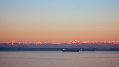 (pnwbot) Tags: seattle pink mountains sunrise dawn bay sound olympic shipping elliott tanker puget pnwbot