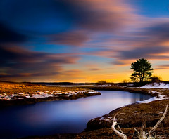 Return to Maple Juice Cove (chris_odonnell) Tags: ocean winter sunset sea snow grass clouds canon river square gold maple interesting warm long exposure juice cove wheat maine 11 explore coastal inlet broad 30d cushing