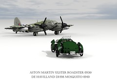De Havilland DH98 Mosquito (1941) and Aston Martin Ulster Roadster (1936) (lego911) Tags: auto uk england classic car plane vintage de airplane 1930s model fighter martin lego britain render aircraft wwii aeroplane replica 1940s mosquito merlin kit airforce fergus bomber challenge aston raf speedster cad 79 racer lugnuts ulster mozzie mkii roadster povray v12 moc ldd brg miniland havilland dh98 lego911 lugnutsgoeswingnuts