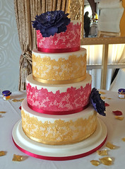 Red & Gold Lace Wedding Cake
