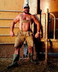 stocky swiss farmer (Farmerbaer) Tags: rural beefy burly sweaty stable sturdy rubberboots gummistiefel brawny lederhose landleben stocky purofort