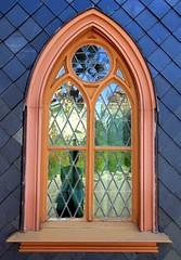 Wooden church - decorated with slate shingles (:Linda:) Tags: reflection window wall germany star town gothic stainedglass thuringia neogothic circular rhomb semicircular neuhausamrennweg historicism slateshingled