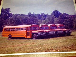 THOMAS BUILT BUS, from High Point, NC and CARPENTER BUS from Mitchell, Indiana.  Brand new 1963 Chevrolet NC School Buses in then standard Omaha Orange.  Digitized from prints.