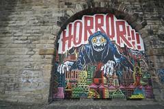 Mighty Mo / Horror / Rowdy_Burning Candy (tombomb20) Tags: street art newcastle graffiti monkey mural paint bc candy reaper spray gateshead mo burning horror graff mighty rowdy 2014 burningcandy tombomb20