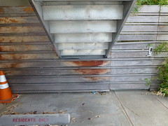 P1050948 (mlinksva) Tags: metal stairs berkeley underneath parkingspot residentsonly horizontalfence