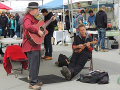 Troubadours (knightbefore_99) Tags: park music hat vancouver baseball farmers market mandolin saturday troubadour littlemountain natbailey