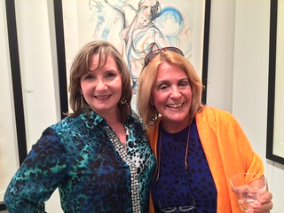 Art director Velia Larcinese with artist Susana Rodriguez at the Americas collection opening Gables Gallery night
