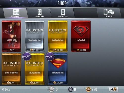 Injustice: Gods Among Us Virtual currency Bank: screenshots, UI