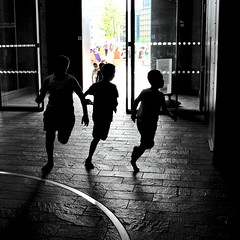 * (donvucl) Tags: light shadow london kids movement running squareformat donvucl fujix100s granarysq