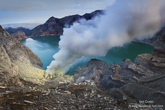 Ijen Crater,Indonesia (mohdfar8) Tags: blue two cloud mist lake man nature yellow rock fog indonesia landscape volcano java dangerous bars action turquoise steel smoke acid scenic off steam gas pole crater pollution smell baskets mineral worker condensation chunks sulfur exploration fracture volcanic miner chloride hydrogen unconscious erupting extremely fumes unpleasant fumarole sulfuric ijen