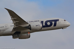 LOT Boeing 787 Dreamliner SP-LRC at Newcastle (Mark_Aviation) Tags: newcastle airplane airport aircraft lot polish boeing airlines takeoff ncl 787 dreamliner 7878 egnt