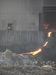 Road to Mordor (Nekoglyph) Tags: orange industry rock metal bright slag steel cleveland glowing torpedo teesside molten redcar blastfurnace