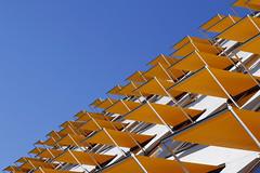 - Sunny - (Jacqueline ter Haar) Tags: zonnig sunny kopenhagen copenhagen lookingup blue orange diagonaal egale blauwe lucht abstract reality diagonal