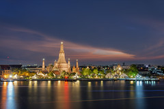 The Temple of Dawn (chuntarothai@yahoo.com) Tags: city travel sunset holiday tourism water beautiful architecture night river thailand temple dawn twilight ancient asia view place bangkok background traditional religion culture buddhism landmark thai chao wat arun phraya