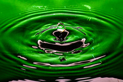 Green Water Droplet (AdeleMachin) Tags: green water contrast highcontrast drop droplet colourful splash emerald waterdroplet
