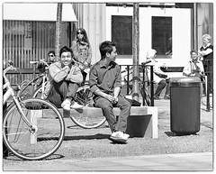 Smile! (Xerethra) Tags: people blackandwhite bw 35mm geotagged spring nikon europa europe sweden candid skandinavien may streetphoto sverige scandinavia sollentuna maj vår svartvitt 2013 stockholmslän nikond80 allfarvägen allfarvägensollentunastockholmslänsverige