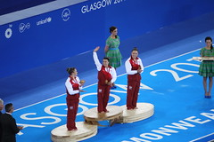 Saluting the Crowd (Worthing Wanderer) Tags: summer sport scotland clyde women glasgow july hydro gymnastics secc commonwealthgames glasgow2014 allaroundfinal