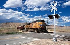 Dirt train at Crescent Junction... 20110615_5873 (listorama) Tags: railroad usa train utah unionpacific brendel tailings gradecrossing crescentjunction