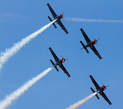 Blades (The Crewe Chronicler) Tags: sky canon aircraft smoke aeroplane formation airshow southport blades aerobatics airdisplay extra300 theblades 60d canon60d southportairshow