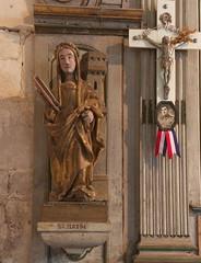 Statue of Sainte Barbe (stanzebla) Tags: churches statues kirchen statuen sculptures 16thcentury churchinteriors 16jahrhundert glisesaintarnouldefontainelalouvet