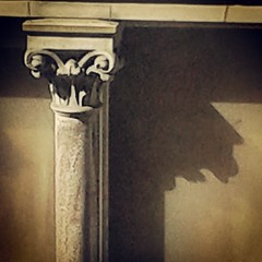 Barney from the Simpsons (Sparks68) Tags: shadow face silhouette tv birmingham pillar simpsons barney councilhouse edenplace