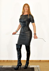 Obey! (Gabriela Winter) Tags: black leather shiny dress boots domination whip overknee