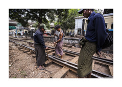 Yangon station tracks (jrockar) Tags: life street city travel people urban 3 man beautiful station train work canon photography track shot mark candid yangon burma iii streetphotography documentary snap human madness maintenance labour instant l 5d myanmar moment everyday job ef f4 1740 mk rangoon ordinary subtle f4l ordinarymadness
