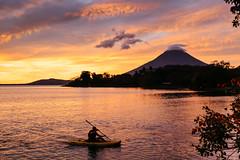 Last row of the day (bradleysiefert) Tags: sunset island volcano kayak boating nicaragua goldenhour ometepe lakenicaragua volcanconcepcion