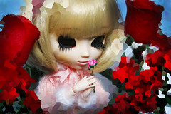 Pixel Rose (Antique Wolf) Tags: pullip rovam obitsu blonde lashes eyelashes roses pixels romantic valentine day rose red pixelate photoshop doll dolls toy toys photography blue pink type three