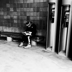 La concentration... (woltarise) Tags: montréal outremont station métro concentration journal entrée streetwise